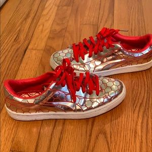 Silver/Red Sneakers